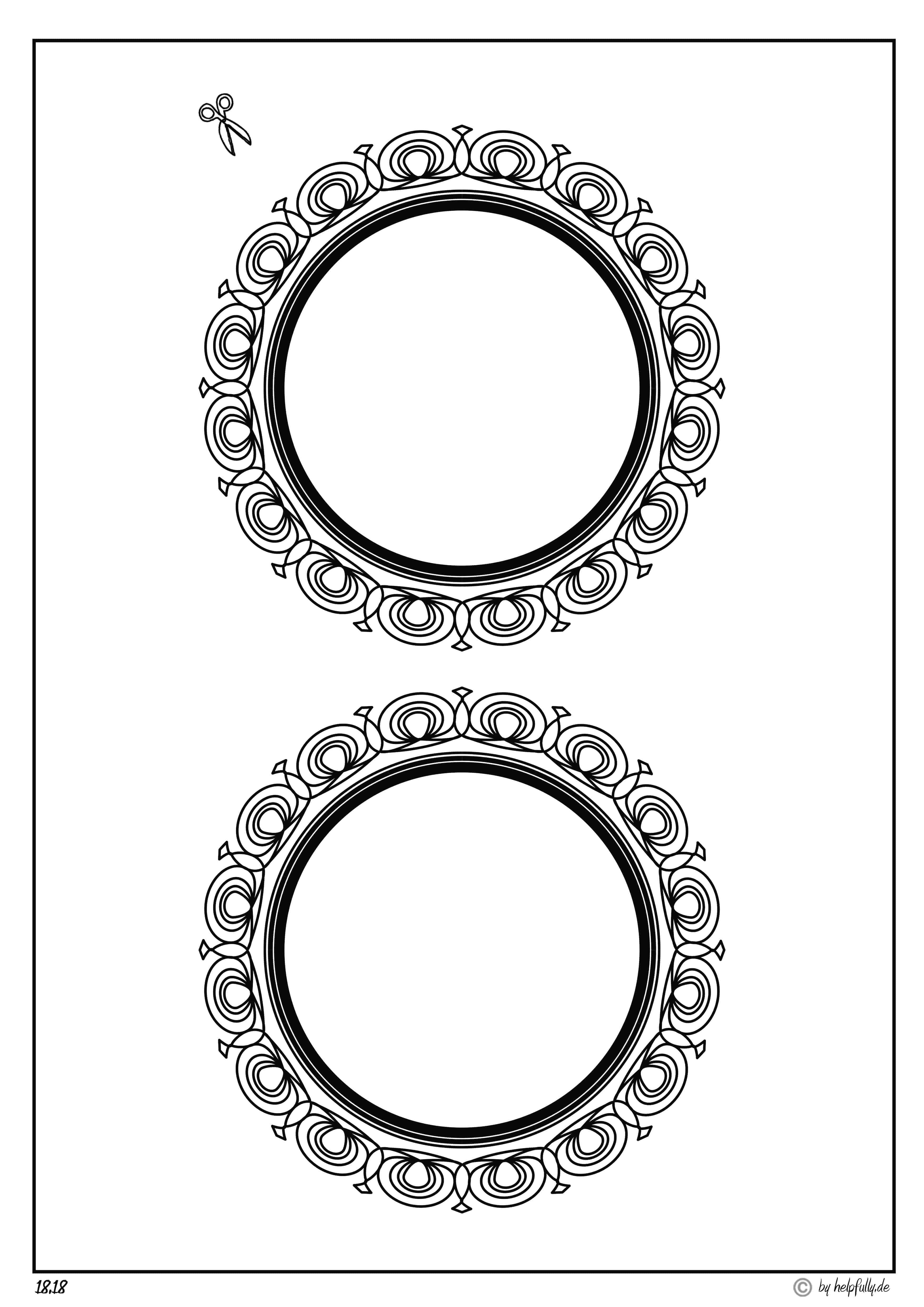 Papiervorlage 2 Rahmen Rund Sw Ii
