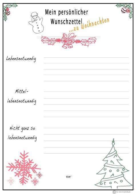 Wunschzettel Weihnachten Wintermix