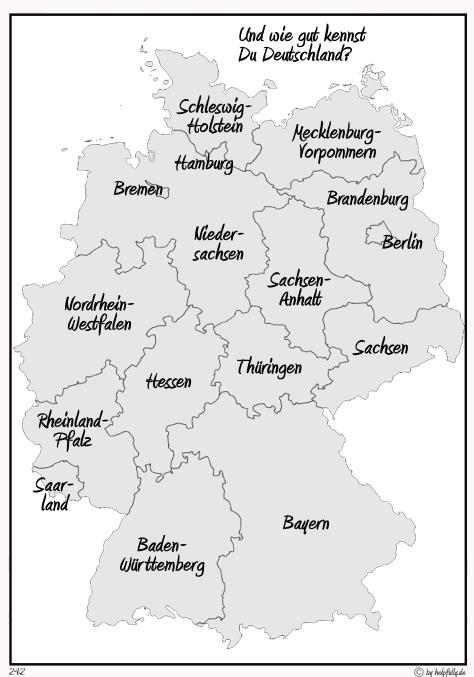 Lernblätter Karte Deutschland Bundesländer