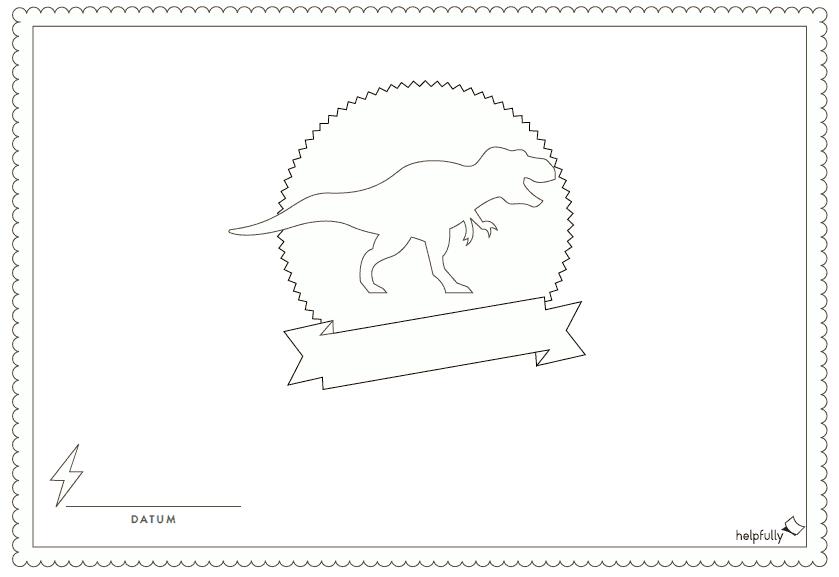 """urkunde  einladung zum ausmalen """"dino rex"""" vorlage 1"""
