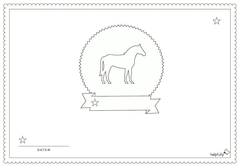 Urkunde Einladung Zum Ausmalen Pferd Vorlage 1