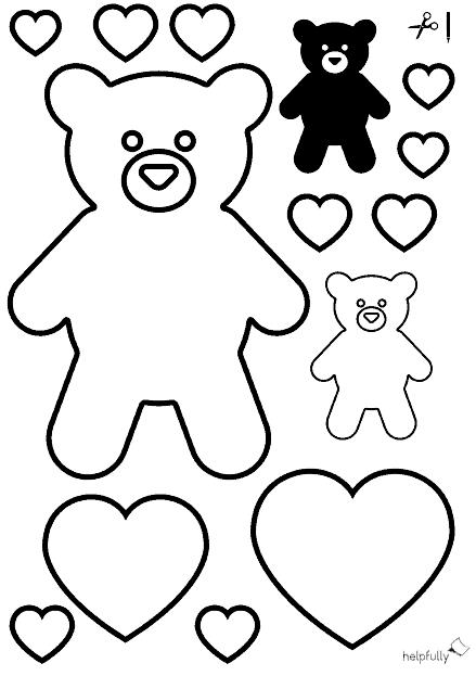 "ausmalbild ""teddybär  herzen"" zum ausschneiden"