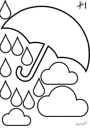 """PDF Vorlage Ausmalbild """"Regenschirm"""" zum Ausschneiden"""