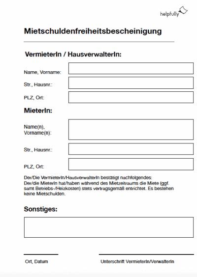 Mietschuldenfreiheitsbestätigung Vermieter/Mieter kostenlos downloaden